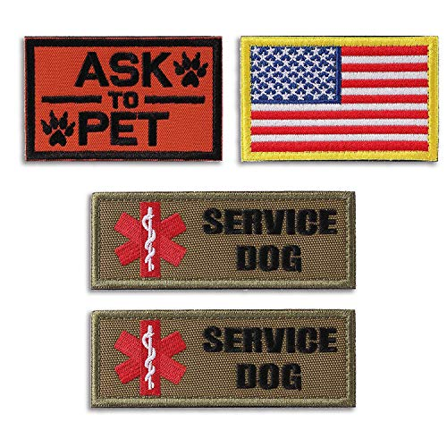 Tphon Service Dog Patch in Training Embroidered Patches for Vest Harness Backpack K9 Morale Badge Hook & Loop Outdoor Tactical Dog Molle Vest Camouflage Harness