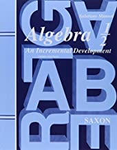 By John H. Saxon - Saxon Algebra 1/2, 3rd (third) Edition Answer Key & Tests: 3rd (third) Edition