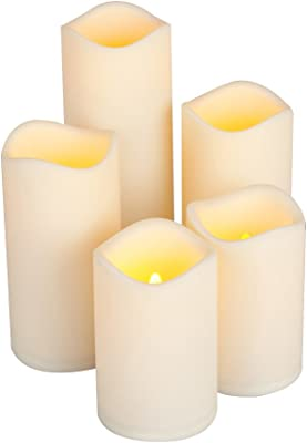 "Everlasting Glow LED Resin Candle, Set of 5, 2-3x4"", 2-3x6"" 1-3x8"""
