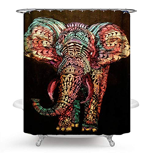 PHNAM Elephant Shower Curtain with Hooks 72x72 Inches Long Waterproof Printed Decoration Polyester Cloth Bath Curtains Sets for Bathroom, Bathtub