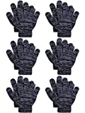 Cooraby 6 Pairs Kids Knitted Magic Gloves Teens Warm Winter Stretchy Full Fingers