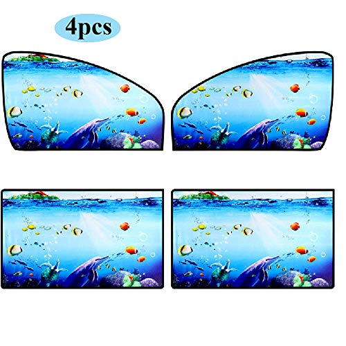 Ovege Car Window Shade -Car Side Window Sun Shade Car Curtain Under The Sea UV Protection Privacy Baby Suction Magnetic (Pattern 1- Opaque, Front& Back 4pcs)