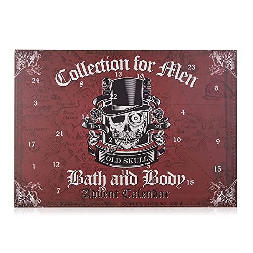 accentra Stylischer Beauty-Adventskalender von für Männer im Totenkopf - Design, Weihnachtskalender mit 24 Beauty und Wellness Überraschungen für Herren, 887 g