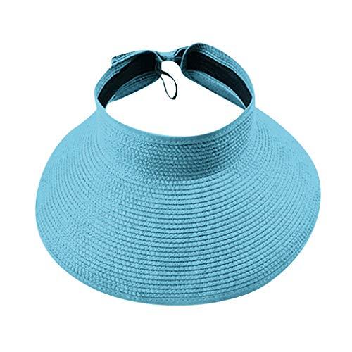 LOPILY Visera Solar de Paja Casquillo al Aire Libre Plegable de Verano Sombrero de ala Ancha para Mujer con Lindo moño de Sombrero de Las señoras Moda Estilo Sombrero de Playa(Sky Azul)