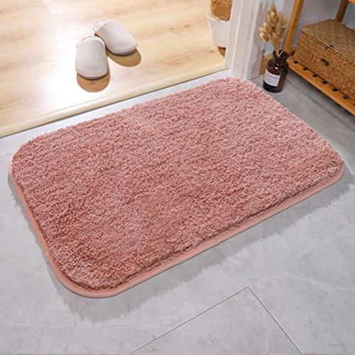Teppich Badezimmer Bodenmatte Saugfähig Badezimmer Rutschfeste Tür Eingang Türmatte Schlafzimmer Teppichmatte,Füße Bequem, Saugfähig Kühl Stabil Stabil Rutschfest Leicht Zu Reinigen,Rosa,60x90cm