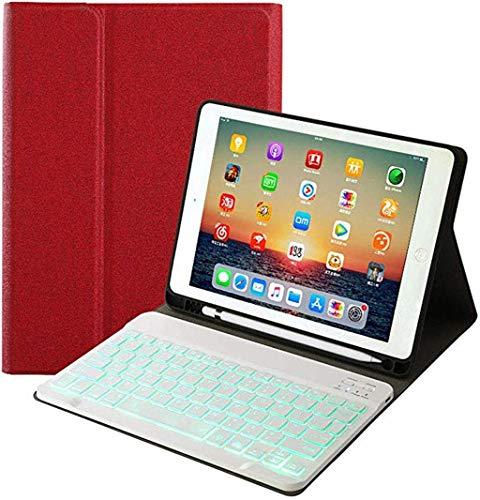 Lukame Cubierta protectora para tableta Cubierta extraíble para teclado Bluetooth con luz de fondo para Ipad 7Th 2019 10.2 pulgadas, Tpu(rojo)