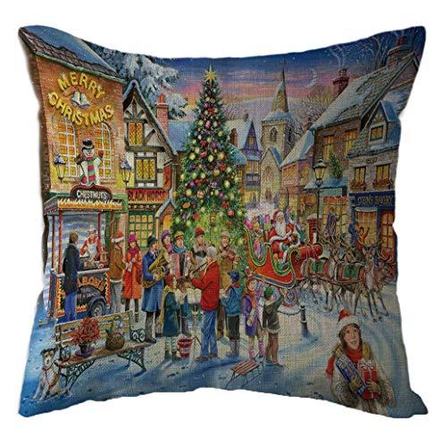 LONUPAZZ Merry Christmas Lin Housse De Coussin Imprimé PèRe NoëL Taie d'oreiller DéCoratif Canapé Chambre 45X45 Cm