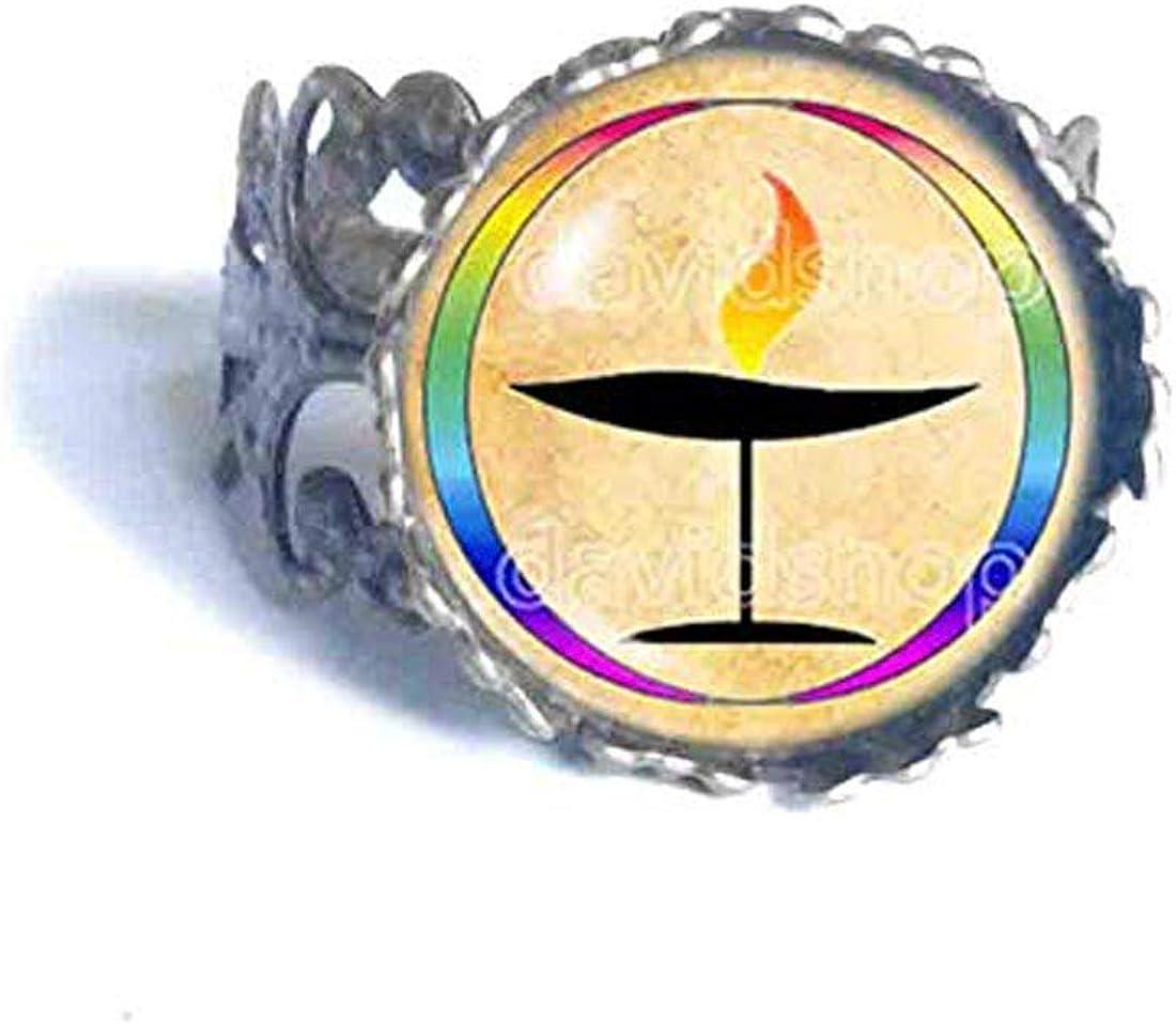Fashion Jewelry Rainbow Flaming UU Flame Unitarian Universalist Chalice Ring Gift Symbol Sign LGBT Cosplay