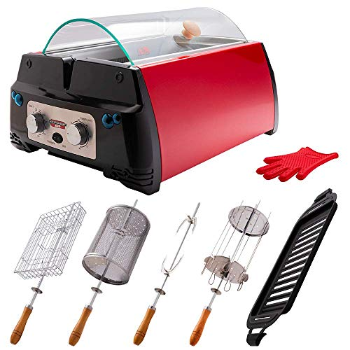Kitchen Chef Indoor Smokeless Rotisserie Grill (SRG) – Large Capacity – Multi Functional – Stainless Steel Construction – Auto Shut Off – Flameless Infrared Heating Technology – Tempered Glass Lid And Drip Tray – Red