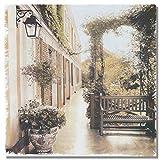 PLjVU Resumen idílica casa Flores Pasillo Paisaje Lienzo jardín Cartel Pared Arte Imagen para Sala de Estar-Sin marco50x50cm