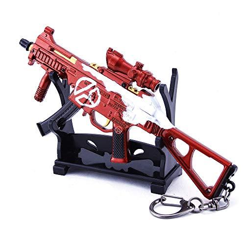 1/6 Escala Mini UMP9 Metralleta Llavero De Metal Modelo Militar Arma Artesanías Cosplay Desmontable Juguete para Niños (F)