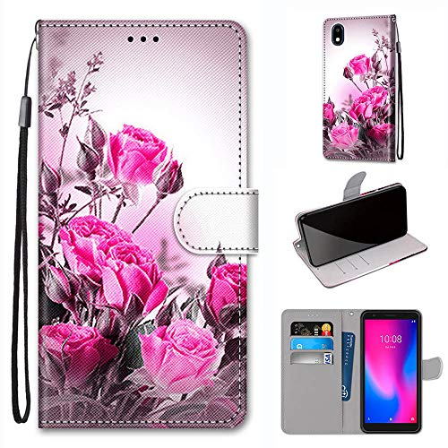 Ranyi ZTE Avid 579 Case, Cute Rose Flower Pattern Leather Wallet Case with Credit Card Holder Kickstand Featuer Hand Strap Flip Folio Magnetic Wallet Protective Case for ZTE Avid 579 -Pink Rose