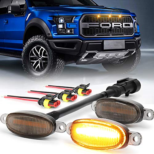 Raptor Grille Lights Smoke Lens Amber Beam with Connectors for Ford F150 F250 F350 Raptor 2004-2019, 12 Months Warranty