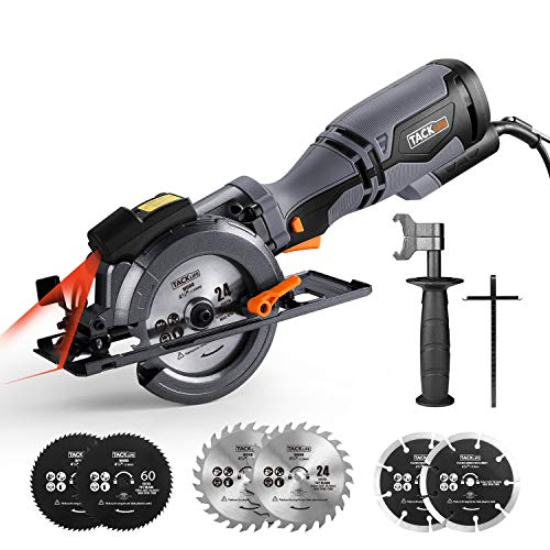 "TACKLIFE Circular Saw with Metal Handle, 6 Blades(4-3/4"" & 4-1/2""), Laser Guide, 5.8A, Max Cutting Depth 1-11/16"