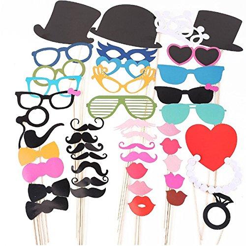 Tinksky Photo Booth Props Party Masker op stokken voor Kerstmis Bruiloft Verjaardagsfeestje-44 stks