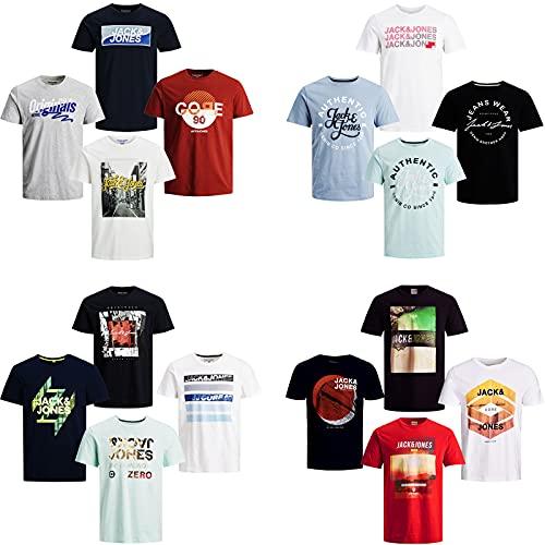 JACK & JONES Herren T-Shirt 4er Pack Rundhals O-Neck Tee Shirt S,M,L,XL,XXL NEU (XL, 4er Paket #33)