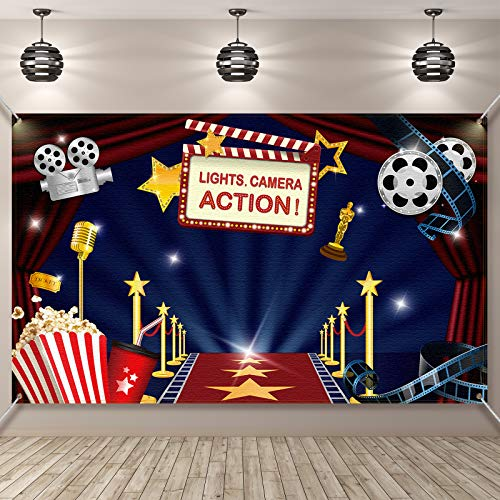 Hollywood Movie Theme Party Decorations Supplies, Large Fabric Hollywood Backdrop for Movie Night Birthday Party Event Awards Night Ceremony Photo Photography Booth Background, 72.8 x 43.3 Inch