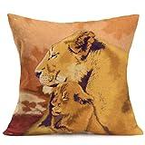 hlhn Cute Tiger leopardo gato León funda lino diseño de casa cuadrada funda de almohada cintura manta funda para cojín para sofá hogar dormitorio tienda de café oficina coche Decor