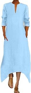 Howely Women Solid Color Long Sleeve Linen Trim-Fit V Neck Long Dress