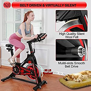 KOMSURF Indoor Cycling Stationary Bike, Exercise Bike for Home Cardio Gym, Belt Drive Workout Bike with Ipad Mount & Comfortable Seat Cushion & LCD Monitor, 330 LBS Weight Capacity(Red)