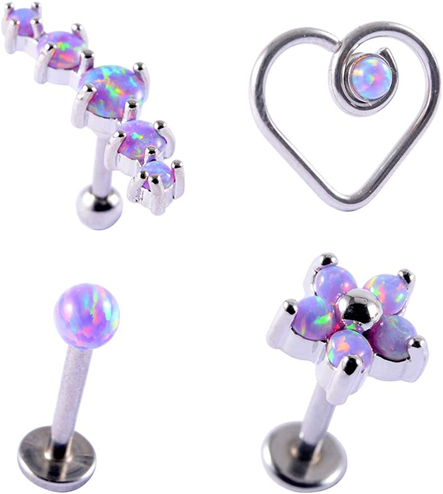 CHUANCI 1Set Surgical Steel Max 40% OFF Opal 38 E Ring Piercing Ranking TOP19 Nose Cluster