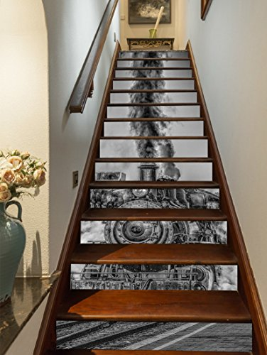 "Preisvergleich Produktbild 3D Schwarzer Zug 46 Stair Risers Dekoration Fototapete Vinyl Aufkleber Tapete DE Lemon (15x H:18cm x W:102cm (7""x40""))"
