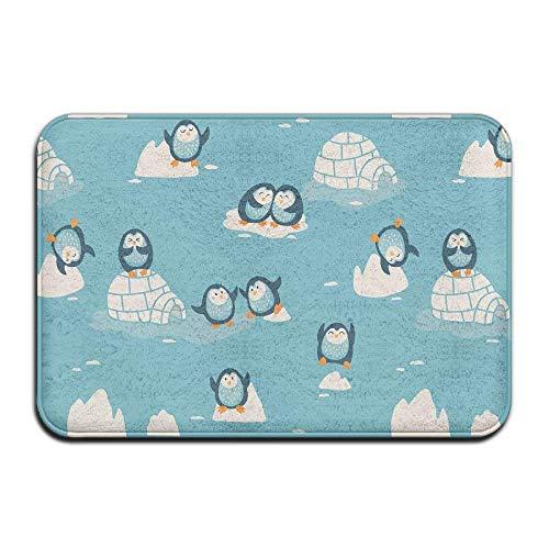 Jhonangel Felpudo Pequeños pingüinos al Aire Libre Interior Felpudos Súper Absorbe Mud Dirt Easy Clean 40 x 60 cm