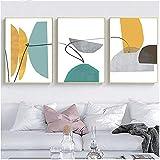 YANHUA Cuadros sobre lienzo abstractos, pósteres modernos azules y amarillos arte geométrico sala de estar, sin marco (30 x 40 cm x 3)