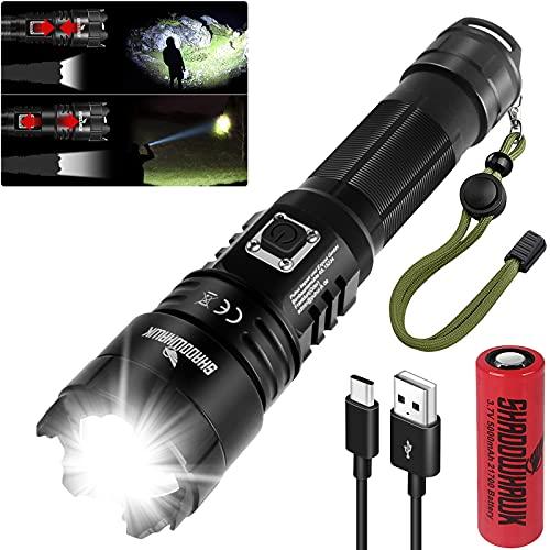 Shadowhawk LED Taschenlampe, Extrem Hell 10000 Lumen USB Aufladbar Taschenlampen, CREE XHP70.2 LED Taktische Taschenlampe, IP67 Wasserdicht 5 Lichtmodi Zoombar für Camping Wandern Notfälle(21700 Akku)