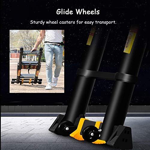 Escalera telescópica, Negro Tall portátil plegable extensibles Escaleras Techo Oficina Loft Escalera, 150Kg de carga, 2.1m + 2.1m lxhff (Color : 1.7m+1.7m)
