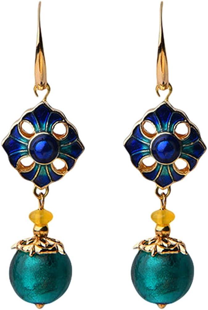 NUOBESTY 1 Pair Vintage Earrings Cloisonne Earrings Chinese Dangle Earrings for Women Girls