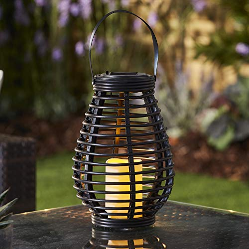 Garden Gear Rattan Solar LED Lantern with Flickering Candle Effect, Automatic Outdoor Lighting for Garden, Patio, Decking & Driveways (Tall) (Black)