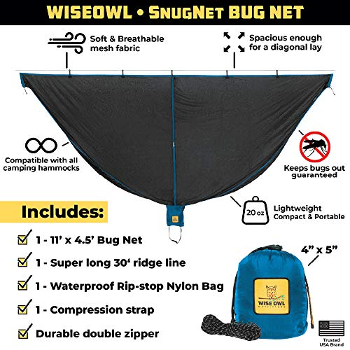 Product Image 1: Wise Owl Outfitters Hammock Bug Net – The SnugNet Mosquito Net for Bugs – Premium Quality Mesh Netting is a Guardian for Mosquitos, No See Um and Insects – Perfect Accessory for Your Hammocks