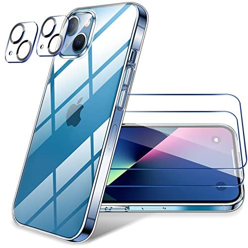 LK Kompatibel mit iPhone 13 Hülle, 2 Displayschutz Schutzfolie & 2 Kamera Schutzfolie, 9H HD Klar Displayschutz Blasenfrei, Weiche TPU Silikon Case Cover - Transparent