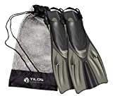 Tilos Getaway Snorkeling Fins Open Heel Fins (Titanium, ML/XL (9-13))