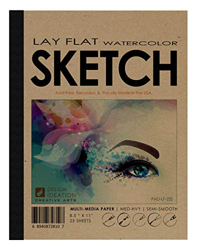 Design Ideation Lay Flat Watercolor Sketch Pad. Removable Sheet Sketchbook for Pencil, Ink, Marker, Charcoal and Watercolor Paints. Great for Art, Design and Education. 8.5' x 11' (1)