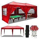 Serface Pavillon Faltpavillon 3x6 Wasserdicht Faltbare Gartenpavillon Festival Sonnenschutz Faltpavillon, UV-Schutz mit 4 Seitenteilen für Garten/Party/Hochzeit/Picknick (3x6m Rot)