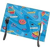 Beryl Shop Manteles Individuales para la Mesa de Comedor Juego de 6 postres Dulces Diseño de San Valentín para manteles fáciles de Limpiar Lavables