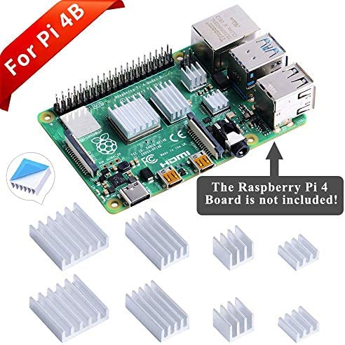 ukYukiko Lot de 3 dissipateurs Thermiques pour Raspberry Pi 4 Mod/èle B