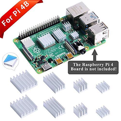 GeeekPi 8PCS Kühlkörper für Raspberry Pi 4 Modell B, Raspberry Pi Aluminium Kühlkörper mit wärmeleitendem Klebeband für Raspberry Pi 4B (Raspberry Pi Board ist Nicht im Lieferumfang enthalten)