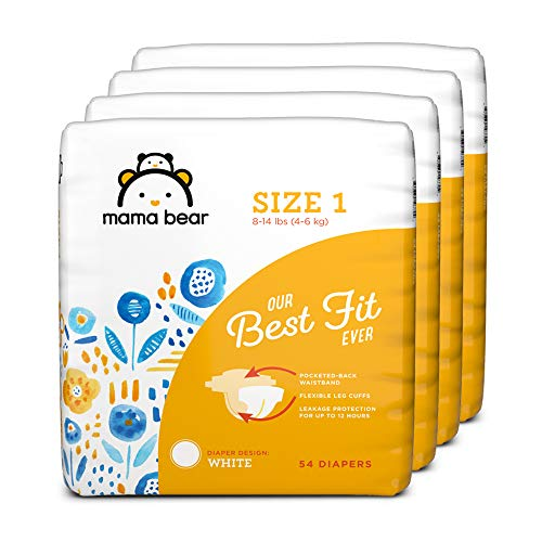 Amazon Brand - Mama Bear Best Fit Diapers Size 1, 216 Count, White Print (4 packs of 54) [Packaging May Vary]