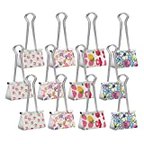Clip'ems Office File and Home Clips. Set of 12 Large Cute Desk & Kitchen Metal Multipurpose Clips for Files, Folders, Organization, Snack Potato Chip Dog Cat Bird Animal Frozen Food Bags by MissionMax