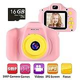 vatenick Cámara Digital para Niños Juguetes de Niña Regalos para Niños Cámara Infantil Pantalla HD de 2 Pulgadas 1080P Tarjeta de 16GB TF Regalos Juguete para Niños de 3 a 12 años Cumpleaños