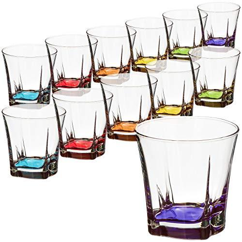 com-four® 12x Whiskygläser im stilvollen modernen Design, spülmaschinenfest (Whiskeyglas V2-12 Stück)