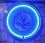 Neon Orologio Harley Davidson Motorcycle Skull–Neon Blu officina Orologio da parete