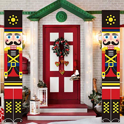Allenjoy Red Christmas Nutcracker Door Banner for Newborn Kids Happy New Year Eve Party Decors Merry Xmas Hanging Wall Porch Sign Outdoor Indoor Polyester 11.8x70.9 Inch Home Event Supplies 2PCS