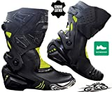 Speed MaxX Mens HiViz & Black Moto Moto CE Racing Scarpe Stivali in pelle