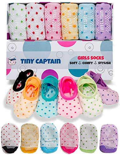 Toddler Girls Baby Grip Socks - Gift For 1 Year Old Girls 1-3 Yr Anti Slip w/ Strap Girl Socks Tiny Captain