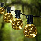 Patio String Lights Led Waterproof - IELECMG 32.8FT 32 Bulbs(2 Spare) G40 Globe String Lights -Led String Lights Outdoor Dimmable Decorative Lighting Remote Control for Backyard Garden Wedding Party