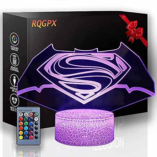 Lámpara LED 3D ilusión visual Super Hero Regalos para adolescentes Niñas Carga USB para decoración del hogar Cool Toys Regalos Cumpleaños Navidad